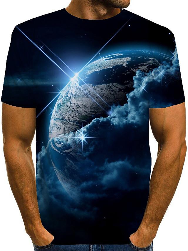 Men's Unisex Tee T shirt 3D Print Print Graphic Interstellar Plus Size Short Sleeve Causal Tops Vintage Novelty Round Neck Blue Purple Red