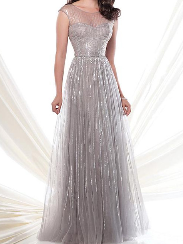 A-Line Sparkle Engagement Formal Evening Dress Illusion Neck Jewel Neck Sleeveless Floor Length Tulle with Pleats Sequin 2020