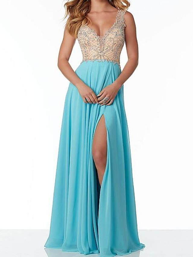 Sheath / Column Color Block Sparkle Engagement Formal Evening Dress V Neck Sleeveless Floor Length Chiffon with Pleats Beading Split 2020