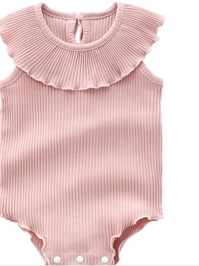 Baby Girls' Active Dusty Rose Solid Colored Print Sleeveless Romper Blushing Pink
