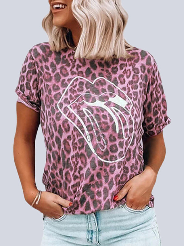 Women's Blouse Leopard Print Round Neck Tops Loose Basic Spring Summer Blushing Pink Camel Green