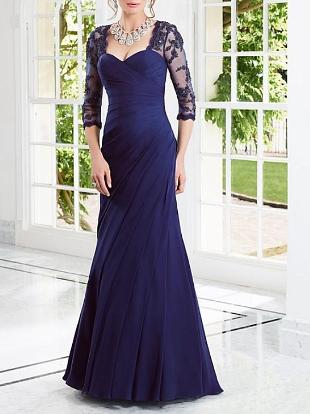 Sheath / Column Elegant Cut Out Engagement Formal Evening Dress Scoop Neck 3/4 Length Sleeve Floor Length Chiffon with Pleats Appliques 2020