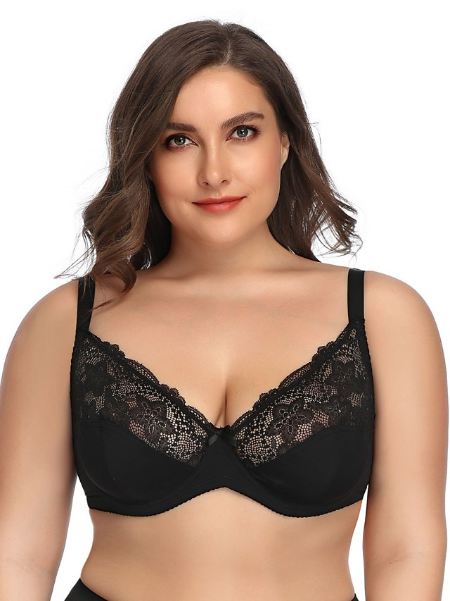 Women's Lace Bras Underwire Bra Full Coverage Bra White Black Beige