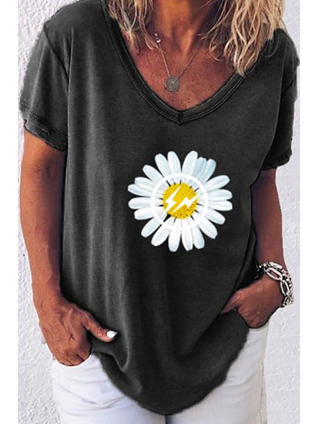 Women's T-shirt Floral Print Tops V Neck White Black Blue