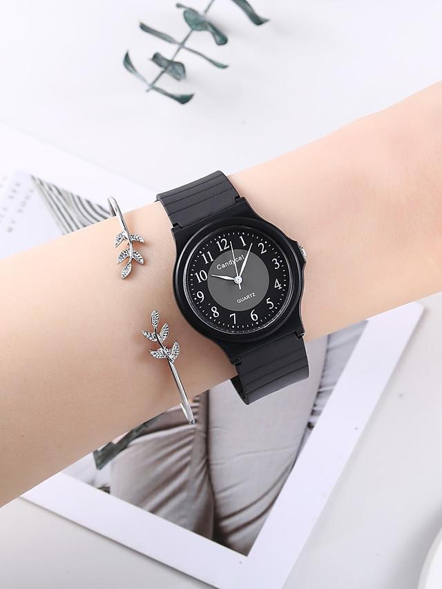 Women's Quartz Watches Quartz Minimalist Cute Silicone Black Analog - White / Black Black One Year Battery Life