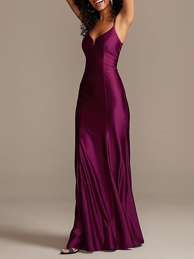 Sheath / Column Elegant Beautiful Back Party Wear Formal Evening Dress Spaghetti Strap Sleeveless Floor Length Satin with Sleek 2020
