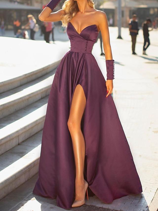 A-Line Elegant Minimalist Engagement Formal Evening Dress Sweetheart Neckline Sleeveless Floor Length Satin with Sleek Split 2020