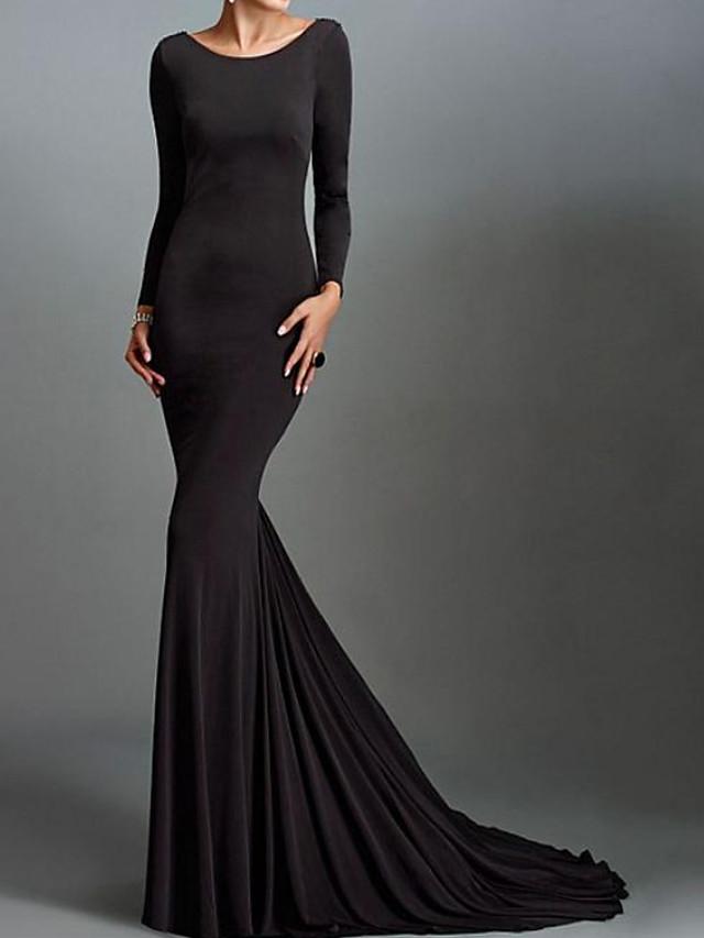 Mermaid / Trumpet Beautiful Back Reformation Amante Engagement Formal Evening Dress Jewel Neck Long Sleeve Sweep / Brush Train Spandex with Sleek 2020