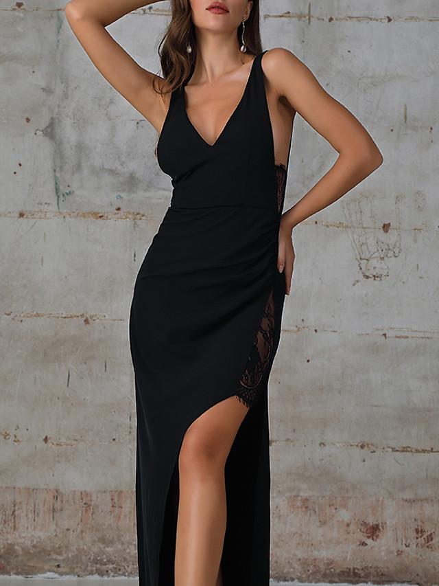 A-Line Sheath / Column Party Wear Dress V Neck Sleeveless Floor Length Cotton with Split Appliques 2020