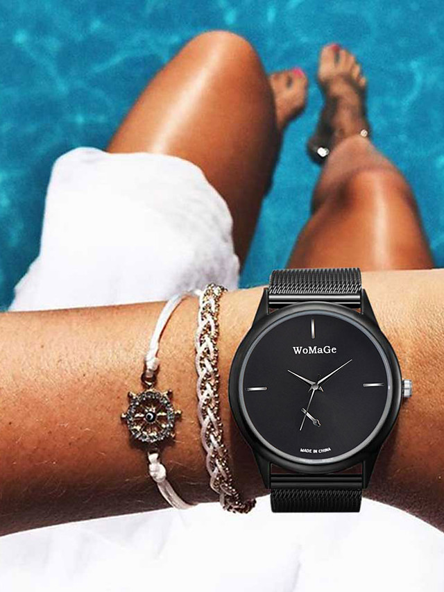 Women's Quartz Watches Quartz Modern Style Casual Casual Watch Stainless Steel Black / Silver / Gold Analog - Rose Gold Black Gold One Year Battery Life