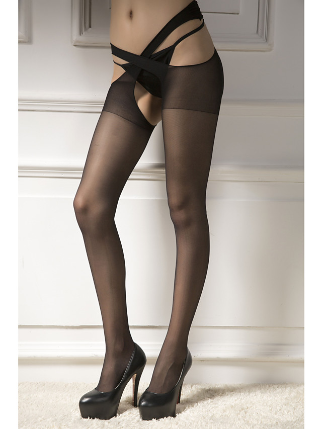 Women's Thin Stockings - Sexy / Lace 30D Black Beige One-Size
