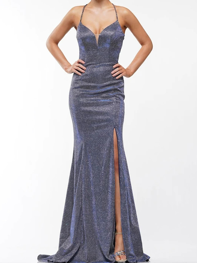 Mermaid / Trumpet Glittering Beautiful Back Engagement Prom Dress Halter Neck Sleeveless Sweep / Brush Train Sequined with Criss Cross Split 2020