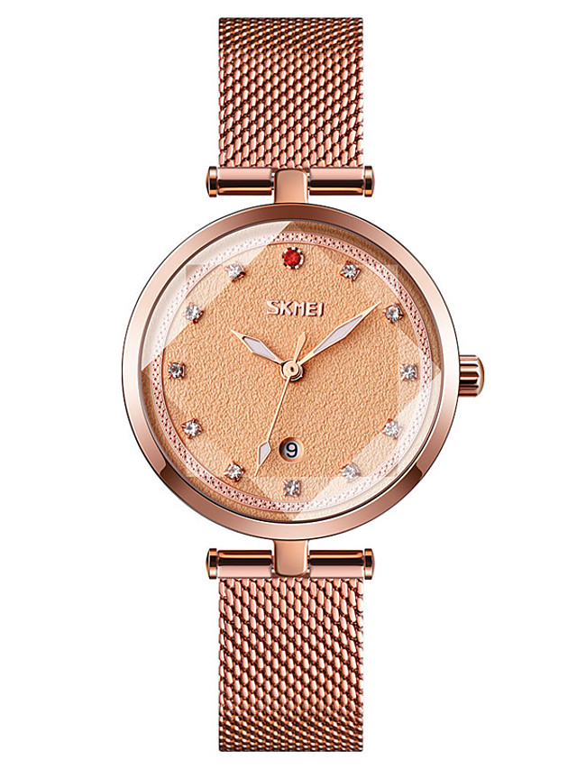 SKMEI Ladies Quartz Watches Quartz Formal Style Modern Style Minimalist Water Resistant / Waterproof Stainless Steel Black / Blue / Rose Gold Analog - Rose Gold White Black One Year Battery Life