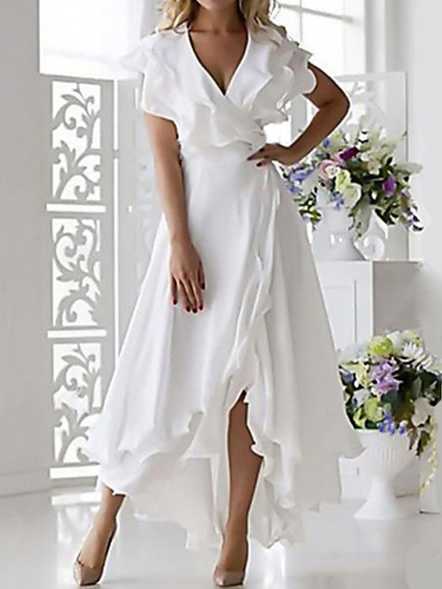 Women's Plus Size Wrap Dress - Sleeveless Ruffle Wrap Multi Layer Summer Deep V Sexy Holiday Vacation Beach 2020 White Dark Blue S M L XL XXL XXXL XXXXL XXXXXL