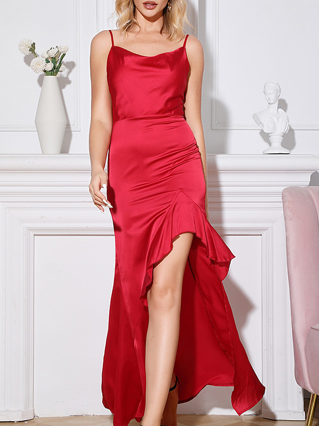 A-Line Sheath / Column Chinese Style Vintage Party Wear Dress Scoop Neck Sleeveless Floor Length Satin with Sleek 2020