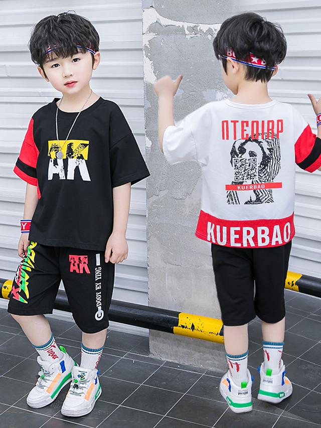 Kids Boys' Active Street chic Daily Wear Outdoor Black & Red Black & White Geometric Color Block Cartoon Patchwork Print Short Sleeve Regular Regular Clothing Set White