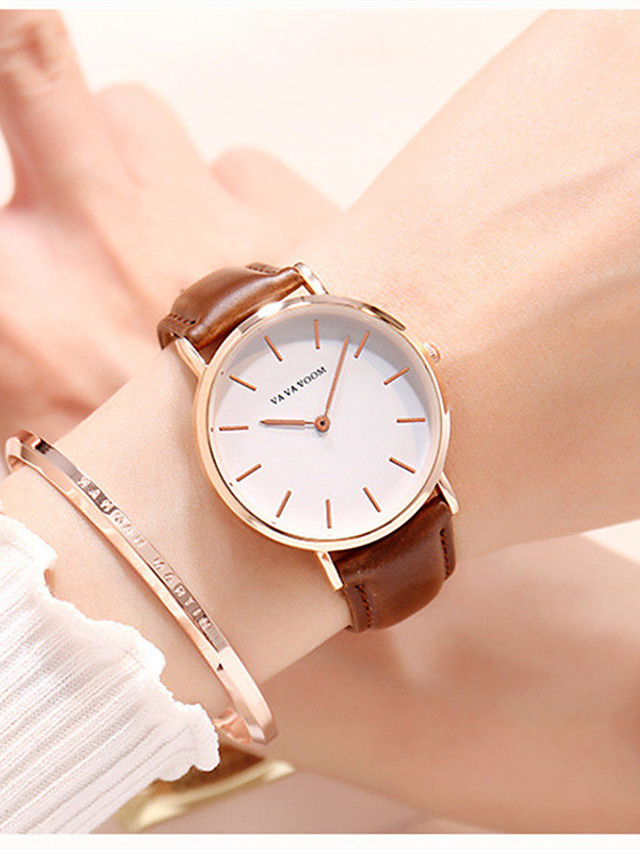 Women's Quartz Watches Quartz Luxury Water Resistant / Waterproof Genuine Leather Analog - Black Brown One Year Battery Life