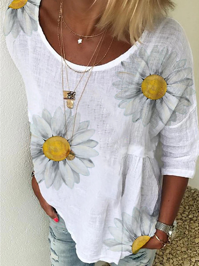 Women's Floral Solid Colored Daisy Print T-shirt Basic Street chic Daily Going out White / Blue / Yellow / Blushing Pink / Green
