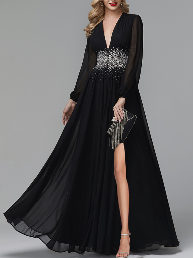 A-Line Luxurious Party Wear Formal Evening Dress V Neck Long Sleeve Floor Length Tulle with Pleats Sequin Split 2020
