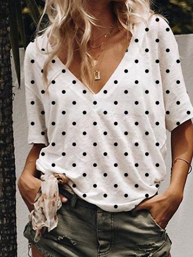 Women's T-shirt Polka Dot Loose Tops V Neck White Blue Blushing Pink