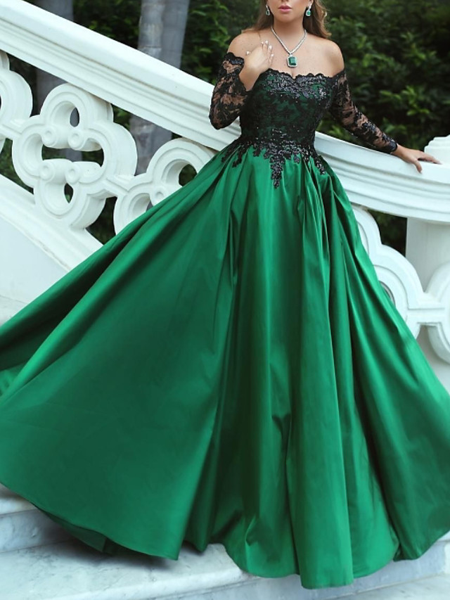 Ball Gown Luxurious Quinceanera Prom Dress Off Shoulder Long Sleeve Sweep / Brush Train Stretch Satin with Pleats Appliques 2020
