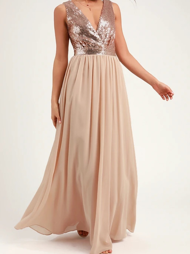 Sheath / Column Beautiful Back Sparkle Party Wear Prom Dress V Neck Sleeveless Floor Length Chiffon with Pleats Sequin 2020