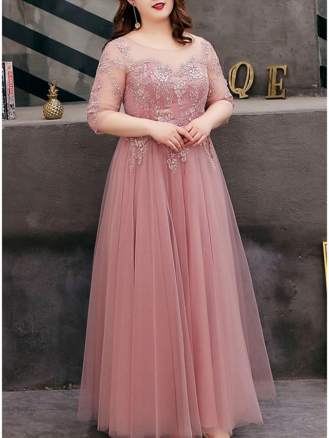 A-Line Cut Out Plus Size Prom Formal Evening Dress Jewel Neck Half Sleeve Floor Length Tulle with Embroidery 2020