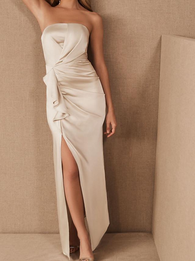 Sheath / Column Minimalist Sexy Engagement Prom Dress Strapless Sleeveless Floor Length Stretch Satin with Draping Split 2020