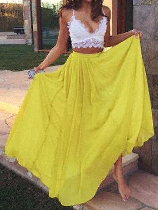 Two Piece Color Block Yellow Holiday Prom Dress Spaghetti Strap Sleeveless Floor Length Chiffon with Pleats 2020