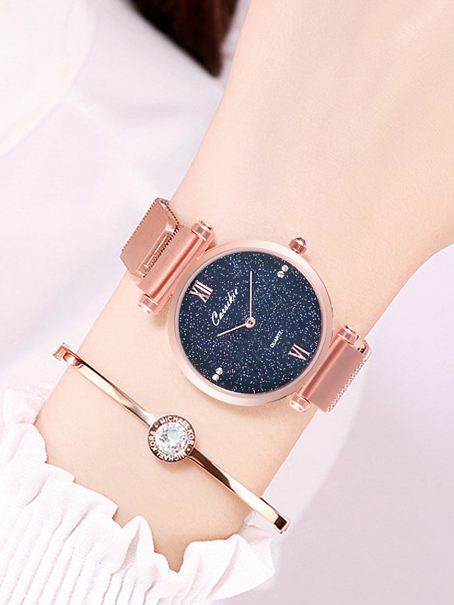 Women's Steel Band Watches Quartz Luxury Water Resistant / Waterproof Stainless Steel Analog - Rose Gold Black Blue One Year Battery Life / Japanese / Calendar / date / day / Japanese