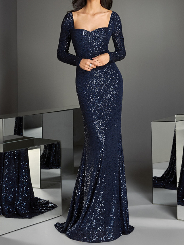 Mermaid / Trumpet Elegant Sparkle Engagement Prom Dress Scoop Neck Long Sleeve Sweep / Brush Train Sequined with Pleats Sequin 2020