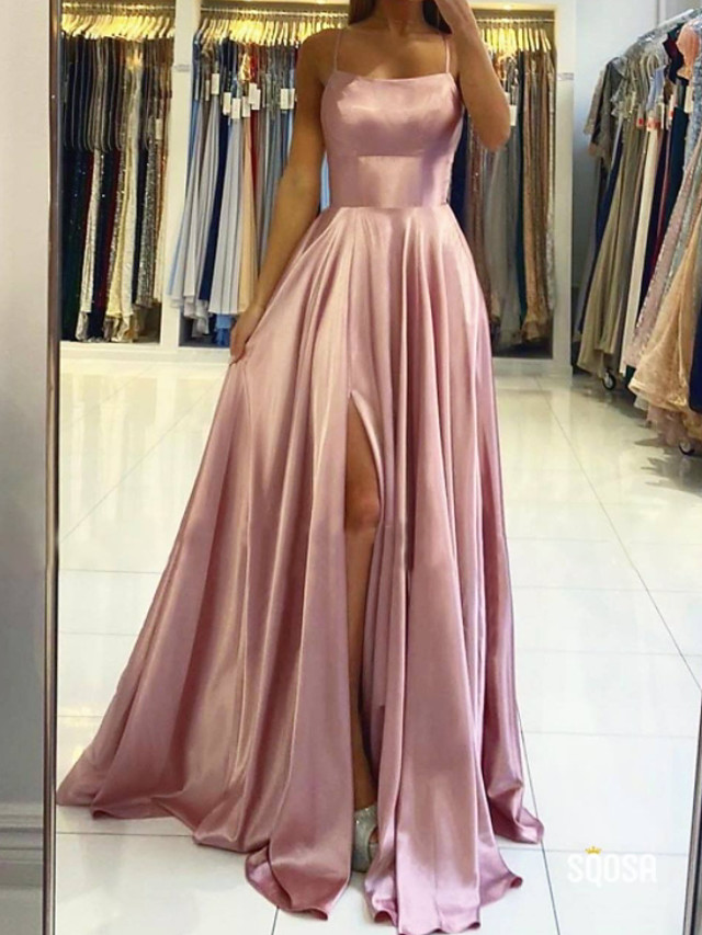 A-Line Beautiful Back Sexy Engagement Prom Dress Halter Neck Sleeveless Sweep / Brush Train Charmeuse with Pleats Split 2020