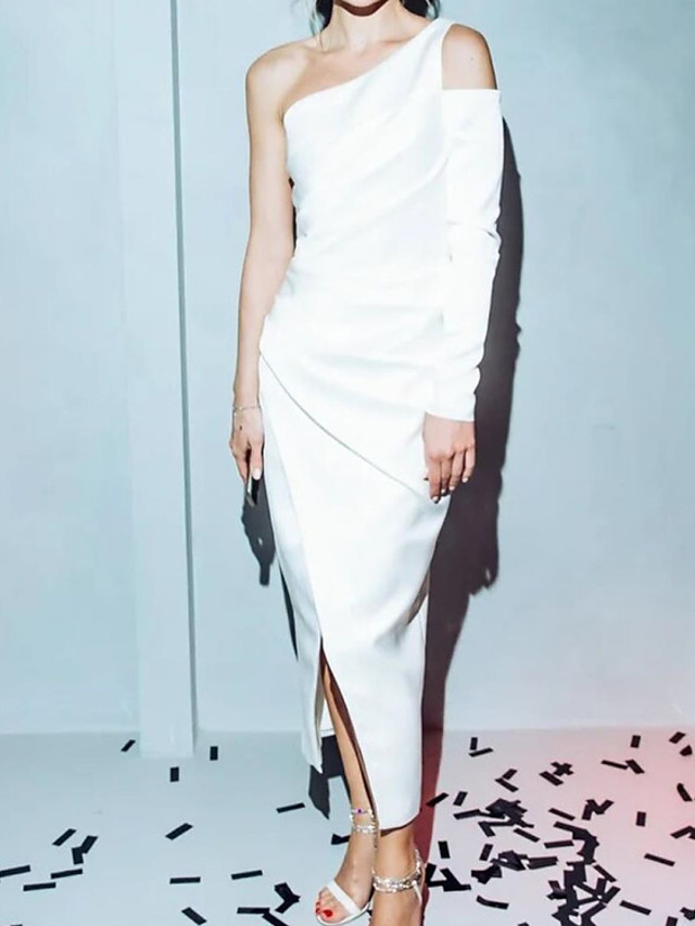 Sheath / Column Elegant White Party Wear Prom Dress One Shoulder Long Sleeve Ankle Length Satin with Ruched Split 2020