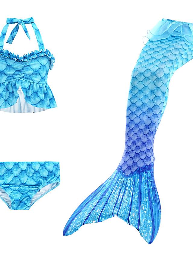 Kids Toddler Girls' Active Cute Mermaid Tail Color Block Rainbow Lace up Sleeveless Swimwear Blue