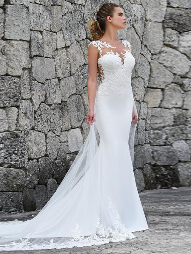 Mermaid / Trumpet Wedding Dresses Off Shoulder Court Train Lace Satin Tulle Sleeveless Sexy See-Through with Appliques 2020