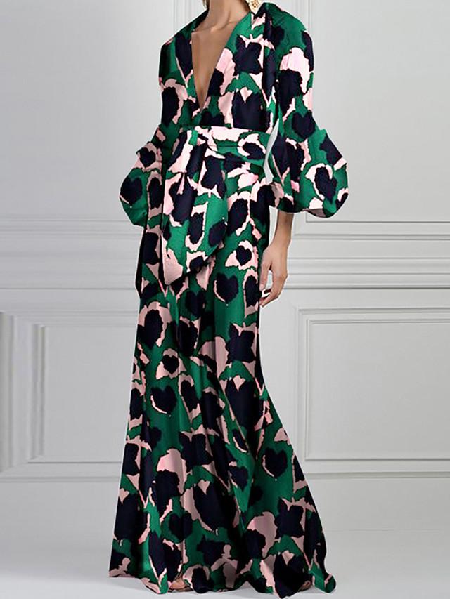 Sheath / Column Bohemian Floral Holiday Prom Dress V Neck 3/4 Length Sleeve Floor Length Nylon with Pattern / Print 2021