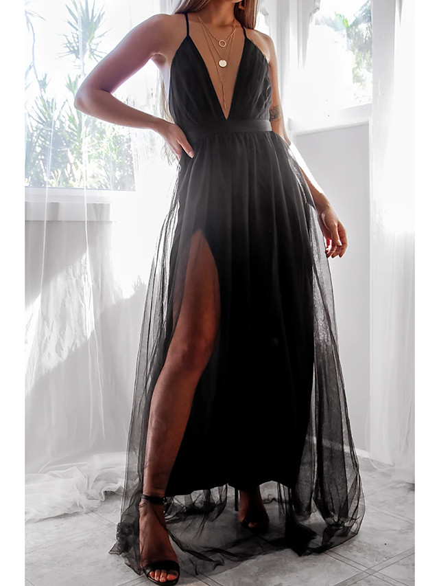 A-Line Sexy Black Party Wear Prom Dress V Neck Sleeveless Floor Length Tulle with Split Overskirt 2020