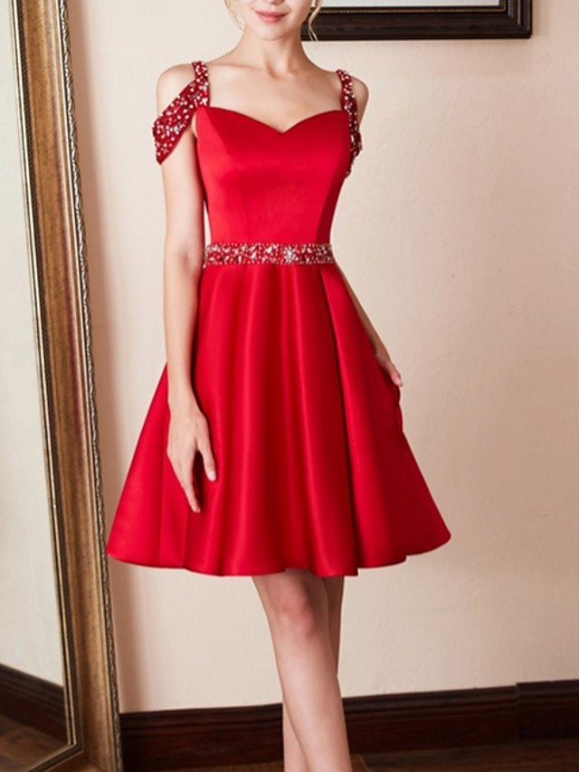 A-Line Cut Out Party Wear Cocktail Party Dress Spaghetti Strap Sleeveless Knee Length Satin with Pleats Crystals 2020