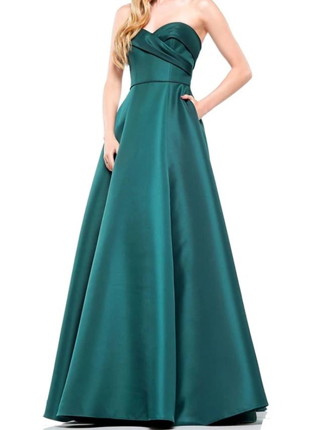 A-Line Elegant Engagement Formal Evening Dress Sweetheart Neckline Sleeveless Floor Length Satin with Pleats 2020
