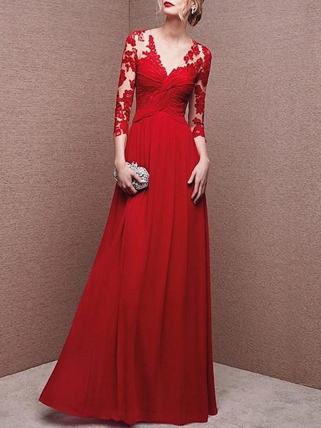 Sheath / Column Elegant Beautiful Back Engagement Formal Evening Dress V Neck 3/4 Length Sleeve Floor Length Chiffon with Lace Insert 2020