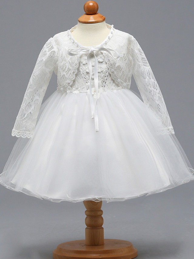 Two Piece Knee Length Birthday / Event / Party Christening Gowns - Lace / Tulle Long Sleeve V Neck with Bow(s)