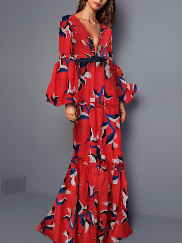 Sheath / Column Bohemian Maxi Dress Wedding Guest Formal Evening Dress V Neck Long Sleeve Floor Length Spandex with Ruffles Pattern / Print 2020