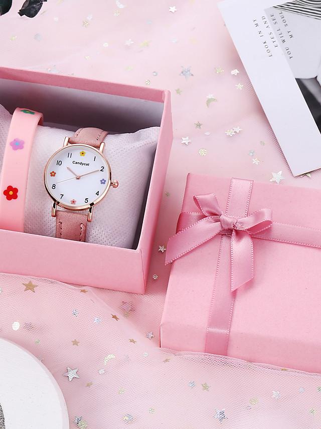 Women's Quartz Watches Quartz Casual Chronograph PU Leather Analog - Black Blushing Pink Green