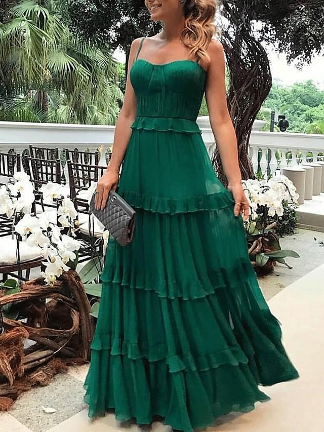Sheath / Column Maxi Boho Holiday Prom Dress Spaghetti Strap Sleeveless Floor Length Chiffon with Ruffles Draping 2020