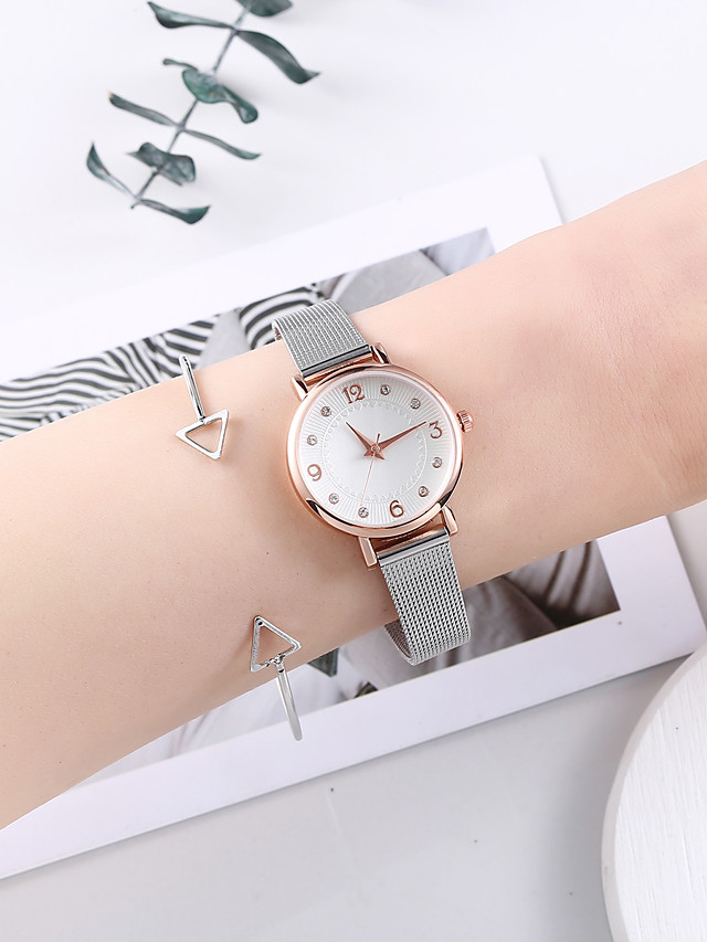 Women's Steel Band Watches Quartz Minimalist Chronograph Stainless Steel Silver Analog - Silver One Year Battery Life