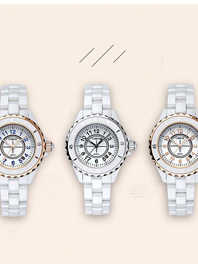Women's Quartz Watches Quartz Luxury Water Resistant / Waterproof Ceramic Analog - Rose Gold White+Blue White One Year Battery Life / Japanese / Calendar / date / day / Japanese