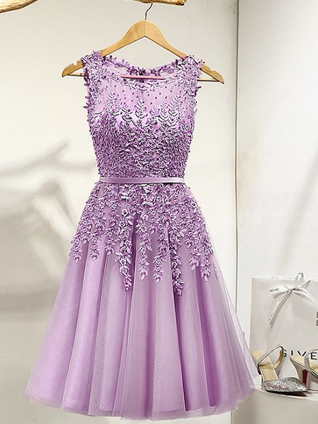 A-Line Beautiful Back Luxurious Party Wear Engagement Dress Illusion Neck Sleeveless Knee Length Tulle with Beading Lace Insert 2020