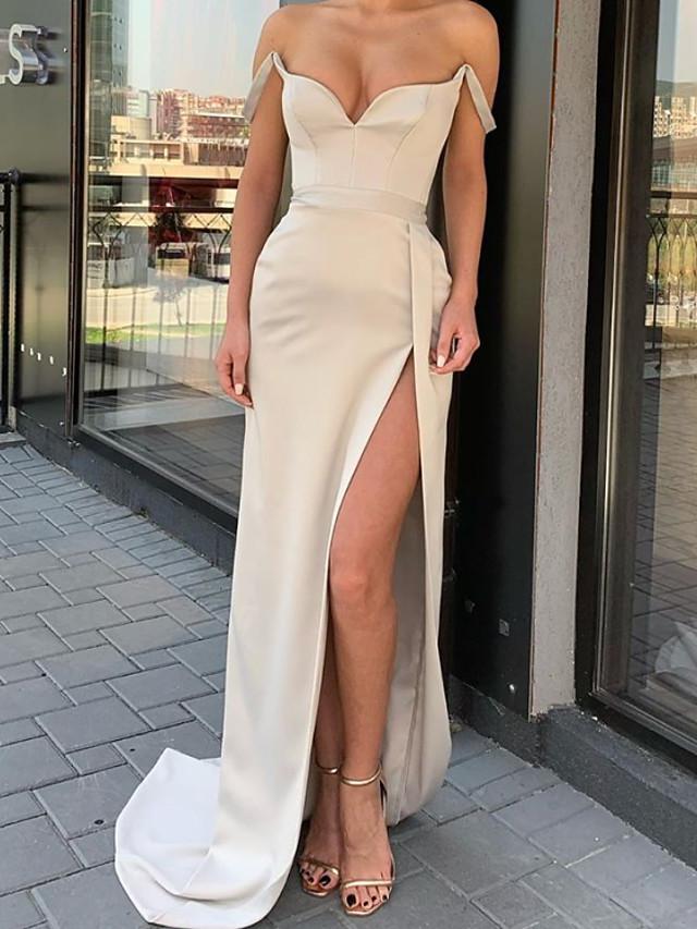 Sheath / Column Minimalist Sexy Engagement Formal Evening Dress Sweetheart Neckline Sleeveless Sweep / Brush Train Satin with Split 2020