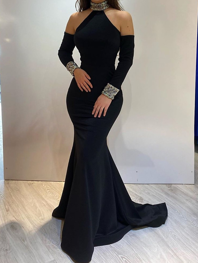 Mermaid / Trumpet Elegant Engagement Formal Evening Dress High Neck Long Sleeve Sweep / Brush Train Satin with Sequin 2020