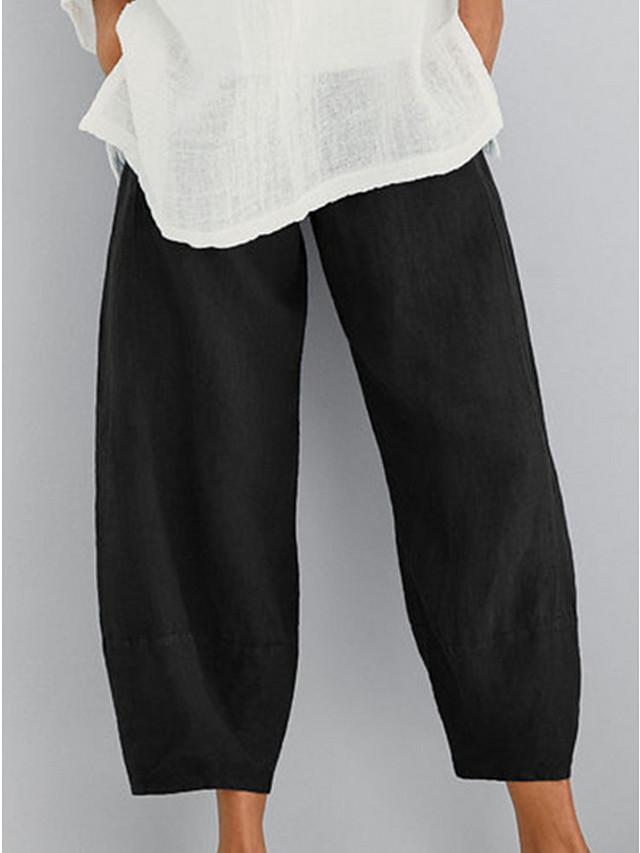 Women's Basic Plus Size Loose Cotton Chinos Pants - Solid Colored Black Khaki Dusty Blue S / M / L